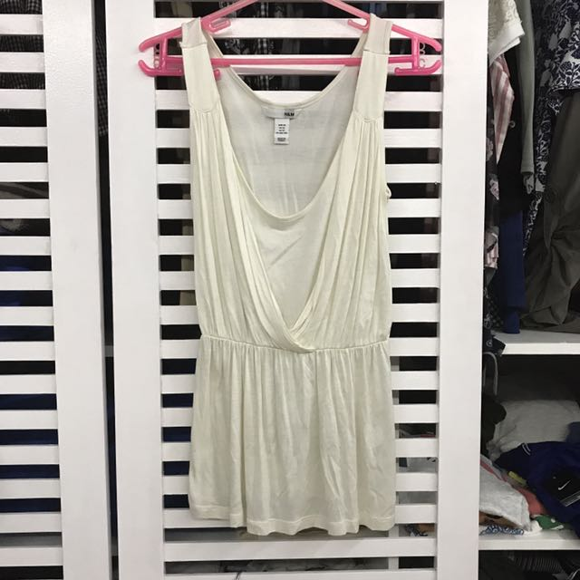 H&M Ivory White Sleeveless Top