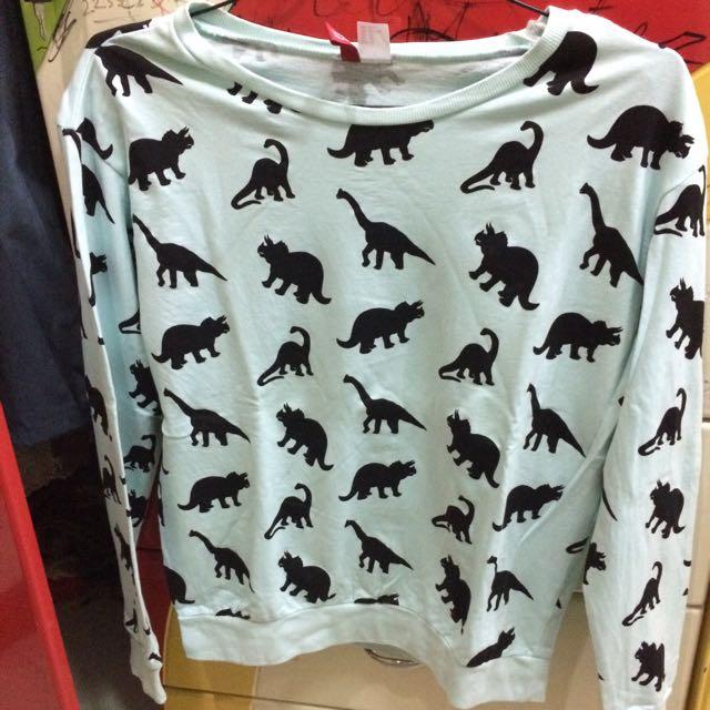 h&m top / h&m sweater (dinosaurus)