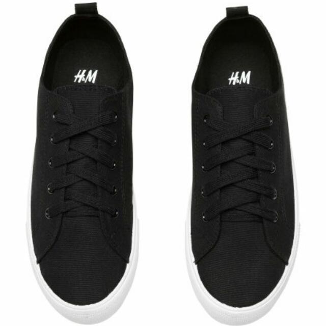 H&M TWILL TRAINERS SNEAKERS (BLACK)