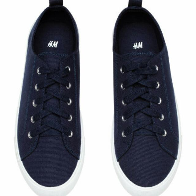 H&M TWILL TRAINERS SNEAKERS (NAVY)