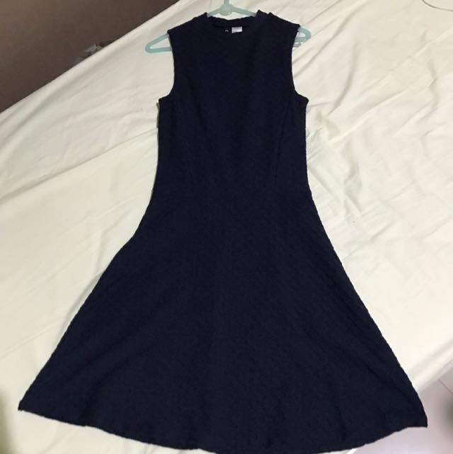 HNM DARK BLUE SKATER DRESS