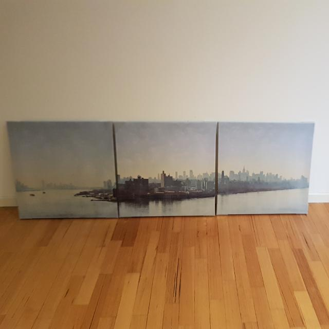 ikea pjatteryd new york city and boroughs landscape wall print 56x56cm set of 3 home. Black Bedroom Furniture Sets. Home Design Ideas