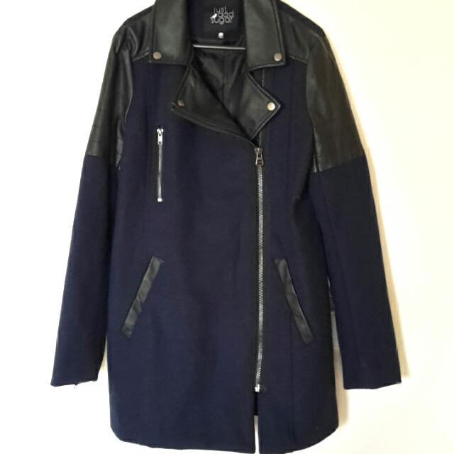 PRICE DROP!! JUST ADD SUGAR Long PU Leather And Wool Coat Jacket Navy Black Biker Moto Style Sz 10 NEW!!! RRP$149 !!!