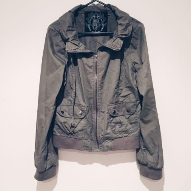 Khaki Military/bomber Style Jacket