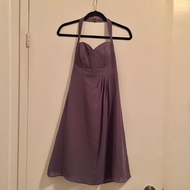 Lavender-Grey Halter Dress