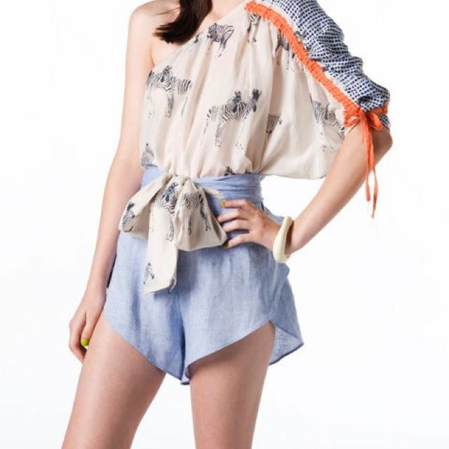 Lilyhart chambray shorts with tie waist