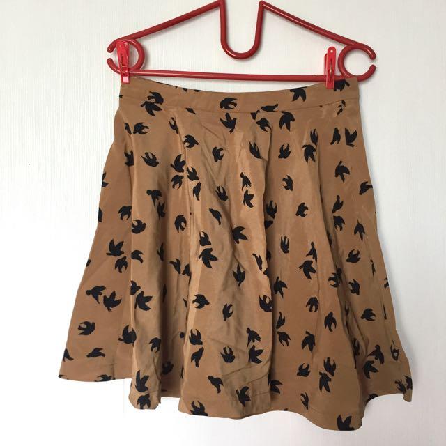 Logo Brown Midi Skirt