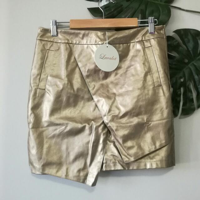 LUVALOT Metallic Gold Mini Skirt BNWT Size 12