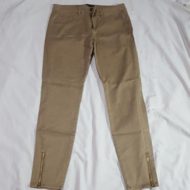 Mango Khaki Ankle Zipper Pants