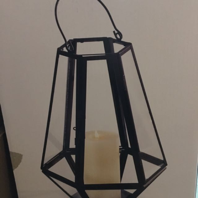 """New In Box Large 14"""" Metal And Glass Lanterns New"""