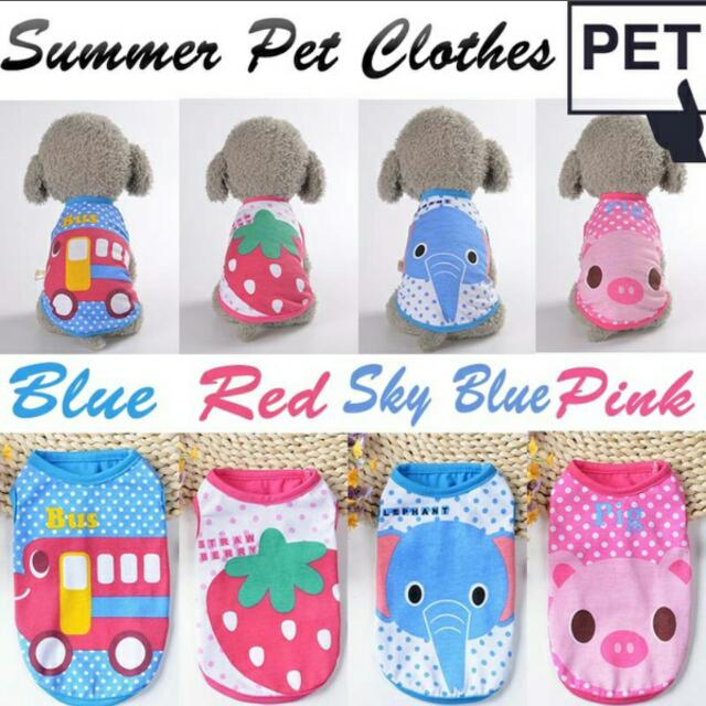 Superieur (Preorder) 2017 Dog Colorful Summer Cartoon Vest Cute Puppy Dog Clothes,  Pets Supplies, Pet Accessories On Carousell