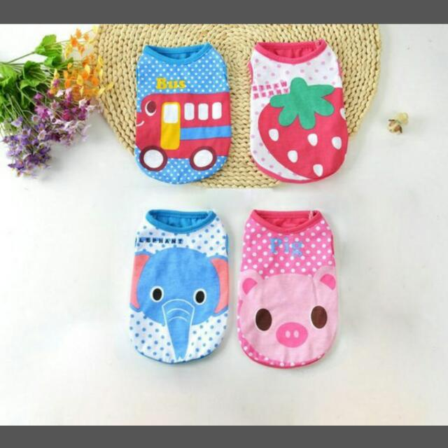 (Preorder) 2017 Dog Colorful Summer Cartoon Vest Cute Puppy Dog Clothes,  Pets Supplies, Pet Accessories On Carousell