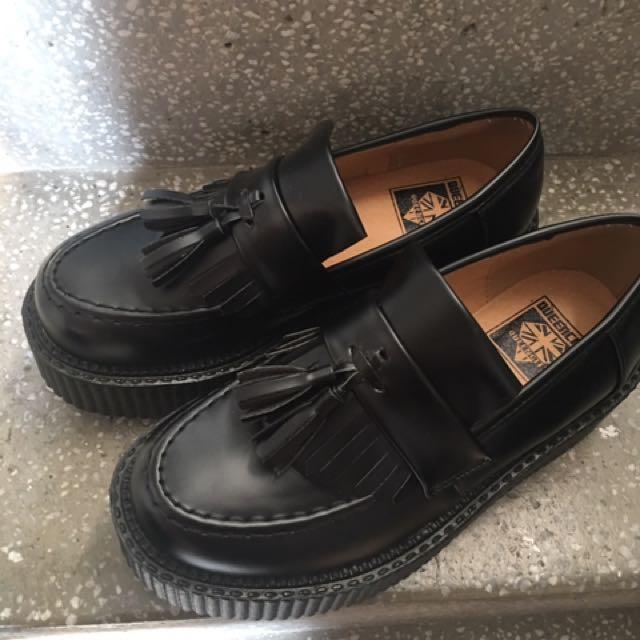 英國queen City 黑色皮質流蘇 厚底鞋 復古增高鞋 暗黑 23.5/37/uk4