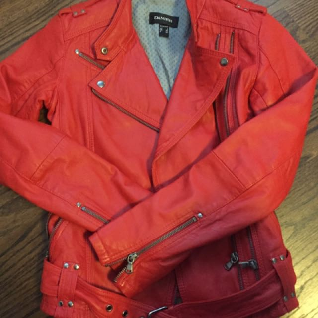 Red Danier leather Jacket 3XS