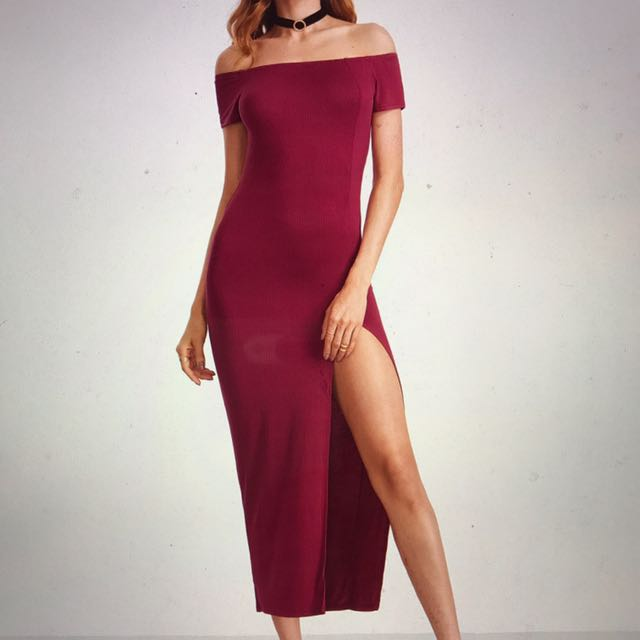 Red Off The Shoulder Cut Out Back Split Thigh Dress