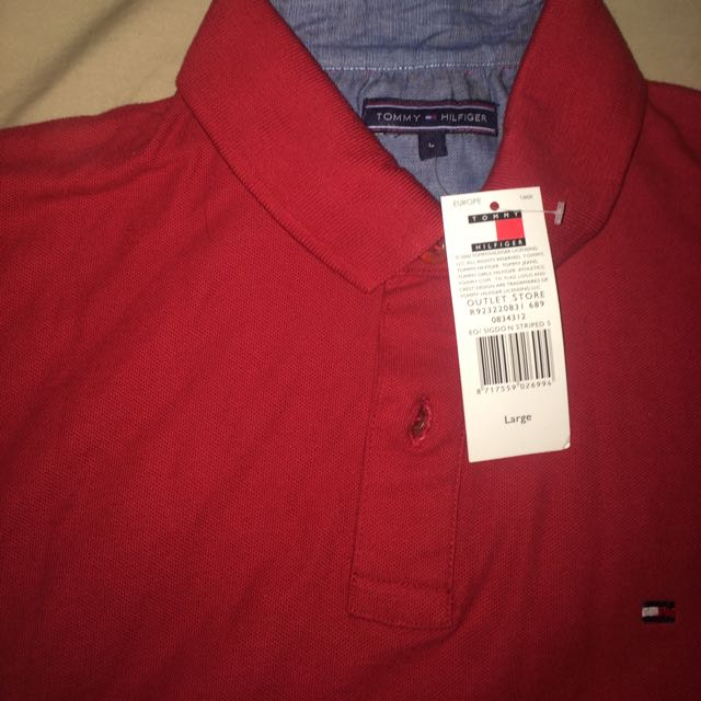 Red Tommy Hilfiger Polo Size L