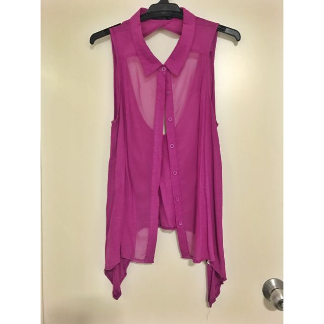 Sleeveless Collared Shirt With Back Cutout