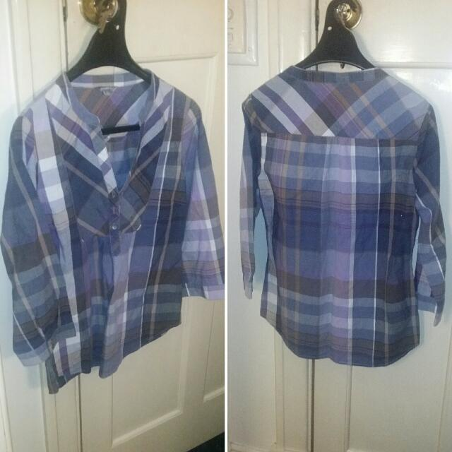 Suzanne Grae Purple and Blue Checkered Shirt Size 10 In excellent condition