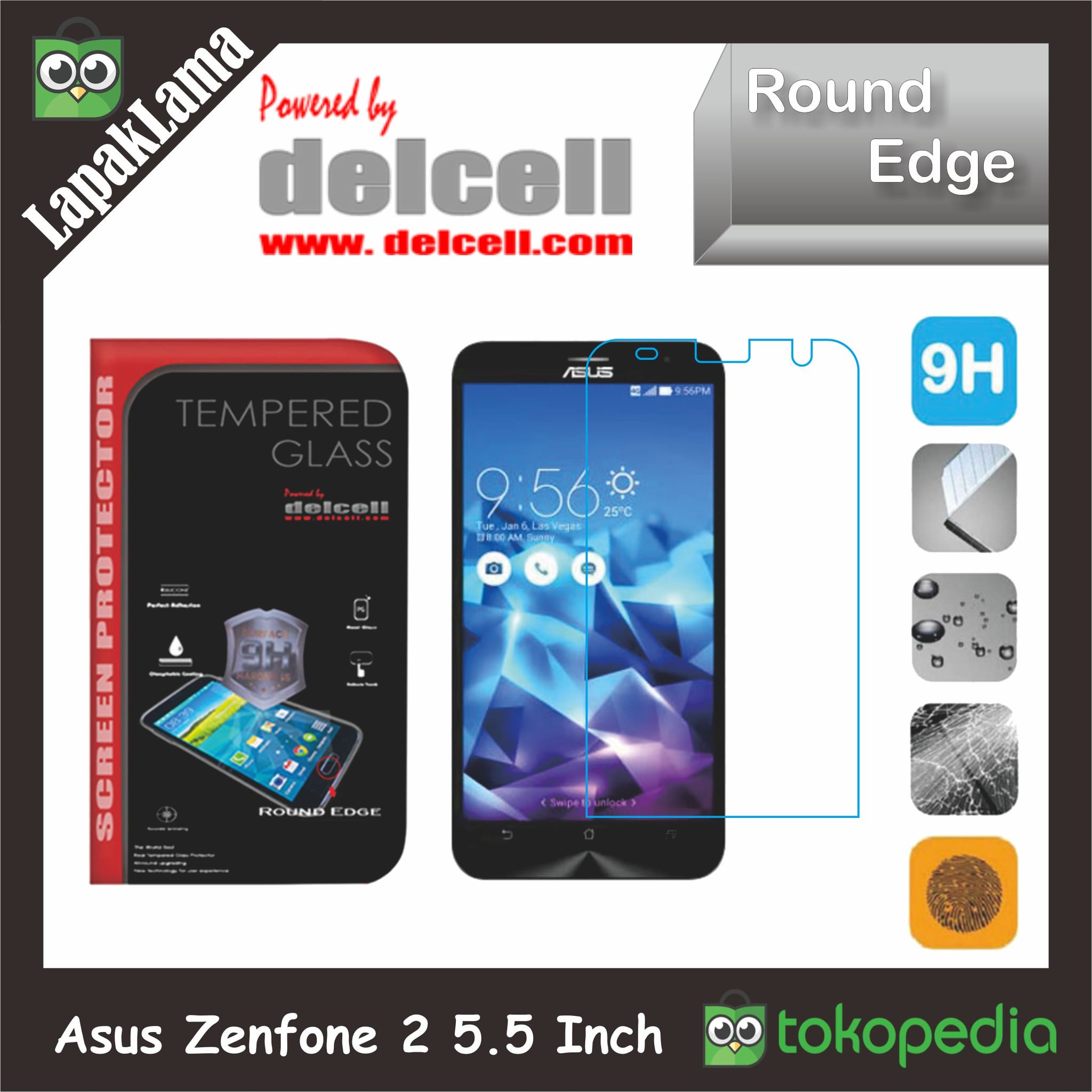 Tempered Glass Bening Delcell Asus Zenfone 2 5.5 Inch Ze550ML Ze551ML