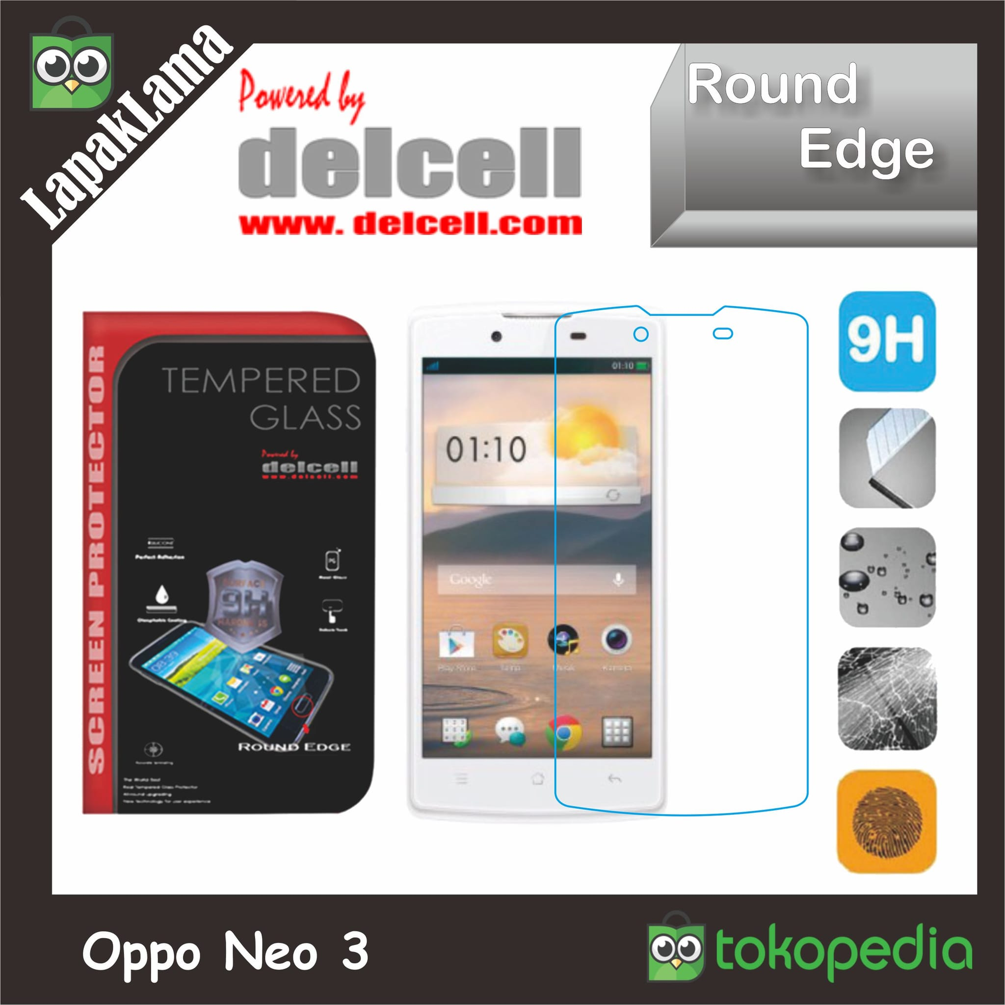 Tempered Glass Bening Delcell Oppo Neo 3 Screen Guard Protector Kaca