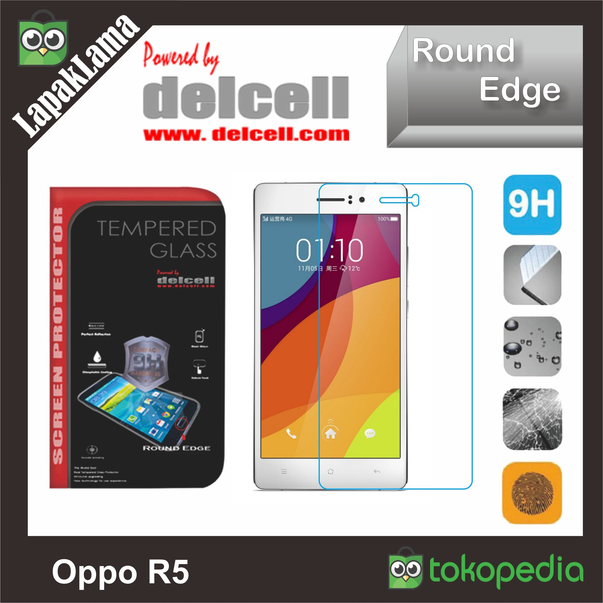 Tempered Glass Bening Delcell Oppo R5 Screen Guard Protector AntiGores