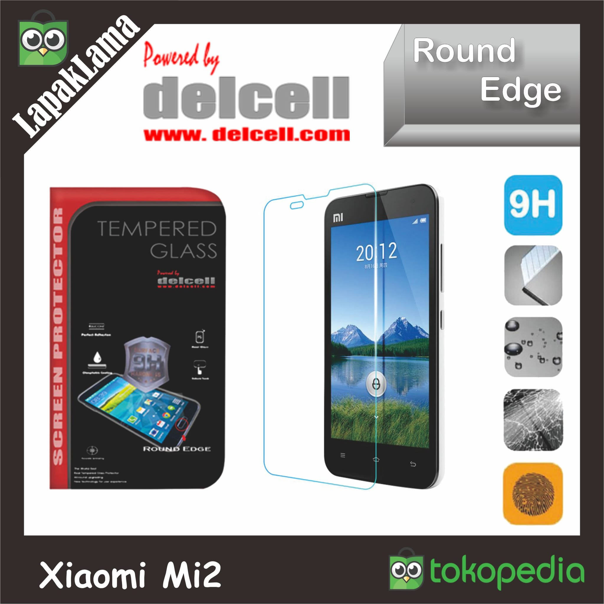 Tempered Glass Bening Delcell Xiaomi Mi2 Mi2s Mi 2 2s Screen Guard