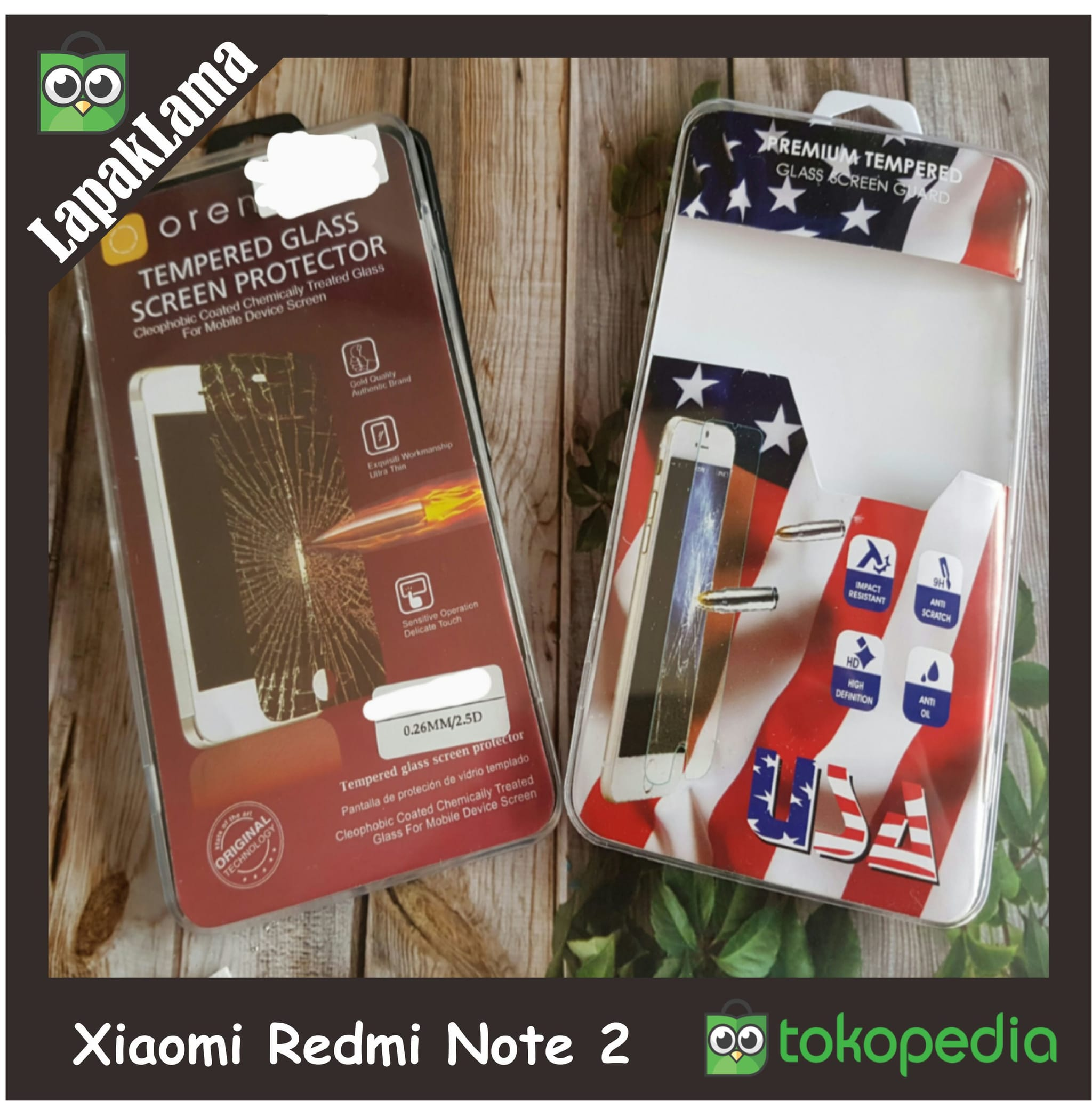 Tempered Glass Bening Xiaomi Redmi Note 2 Screen Guard Protector Kaca
