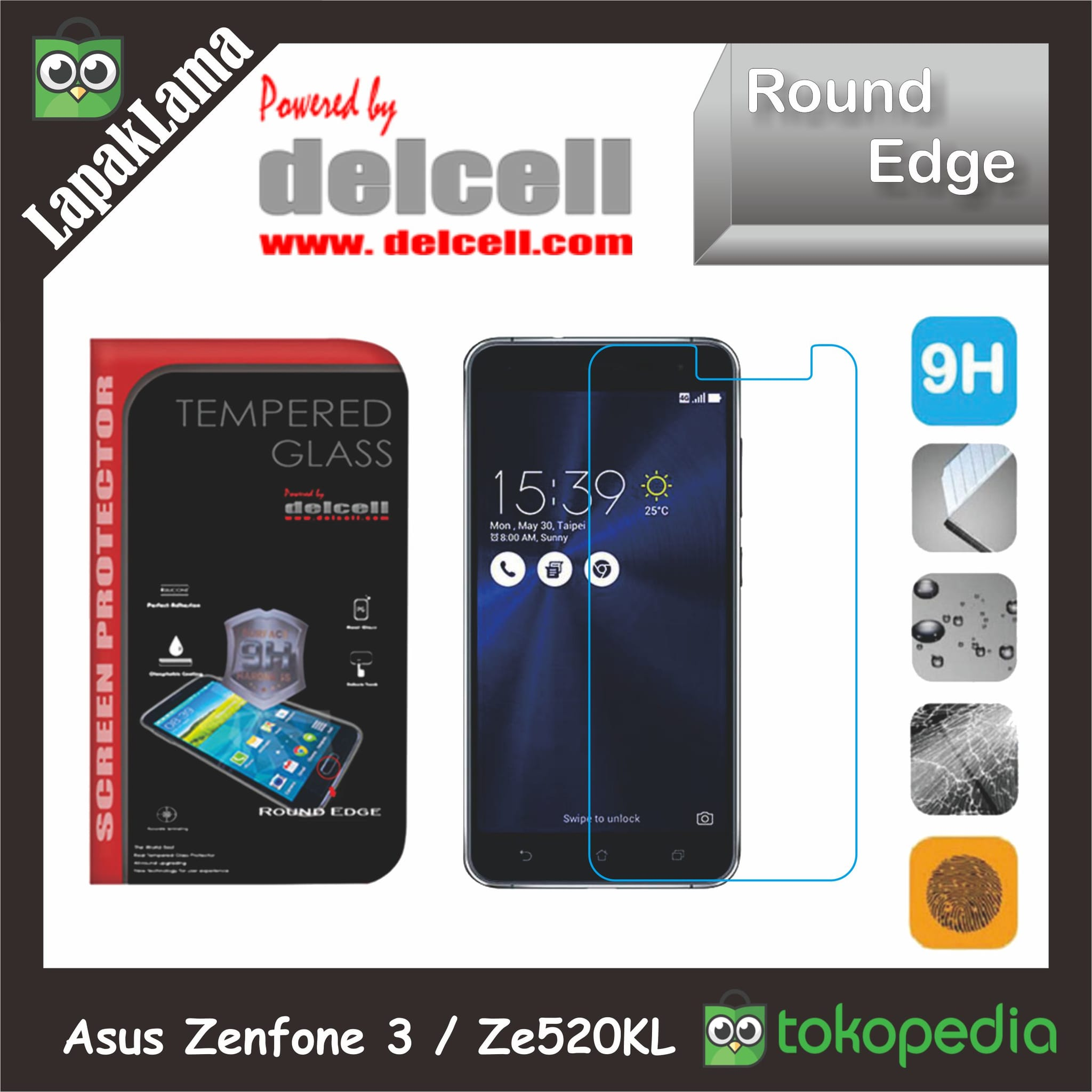 Tempered Glass Delcell Asus Zenfone 3 5.2 Inch  Ze520KL Screen Guard