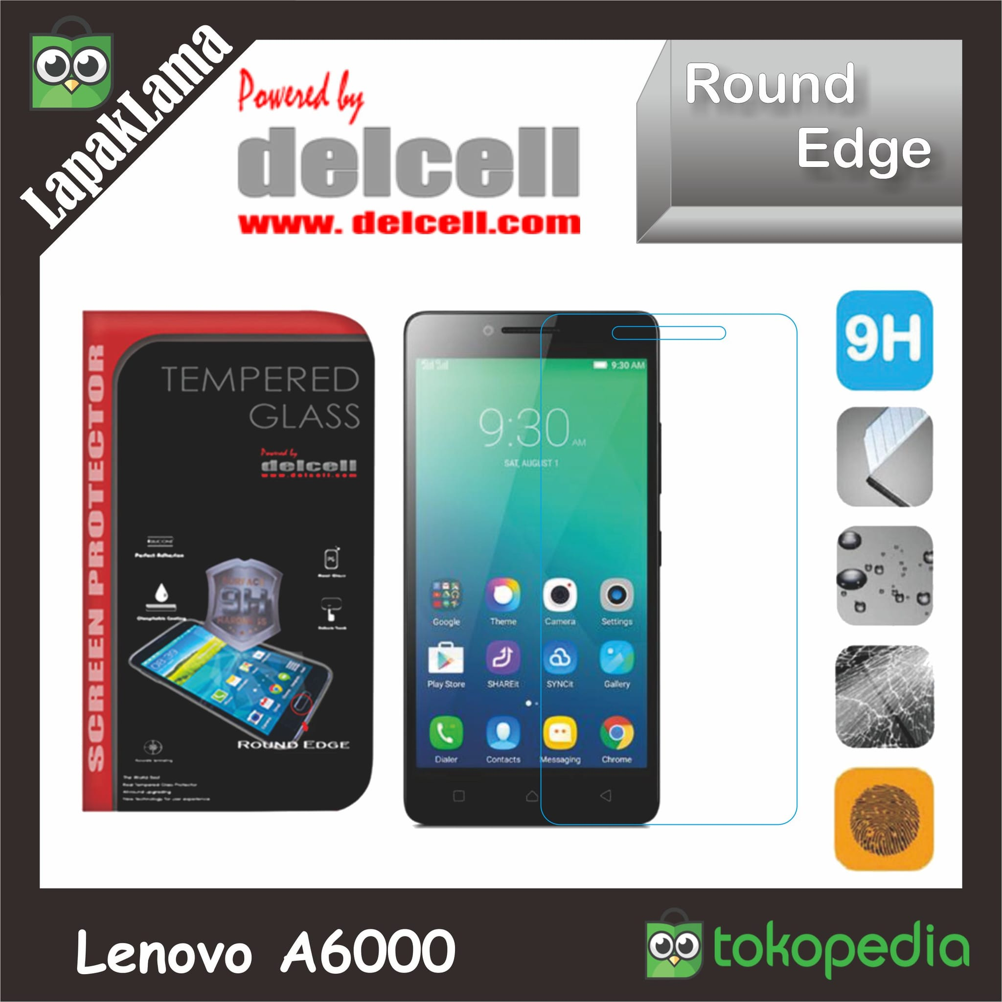 Tempered Glass Delcell Bening Lenovo A6000 Screen Guard Protector Kaca