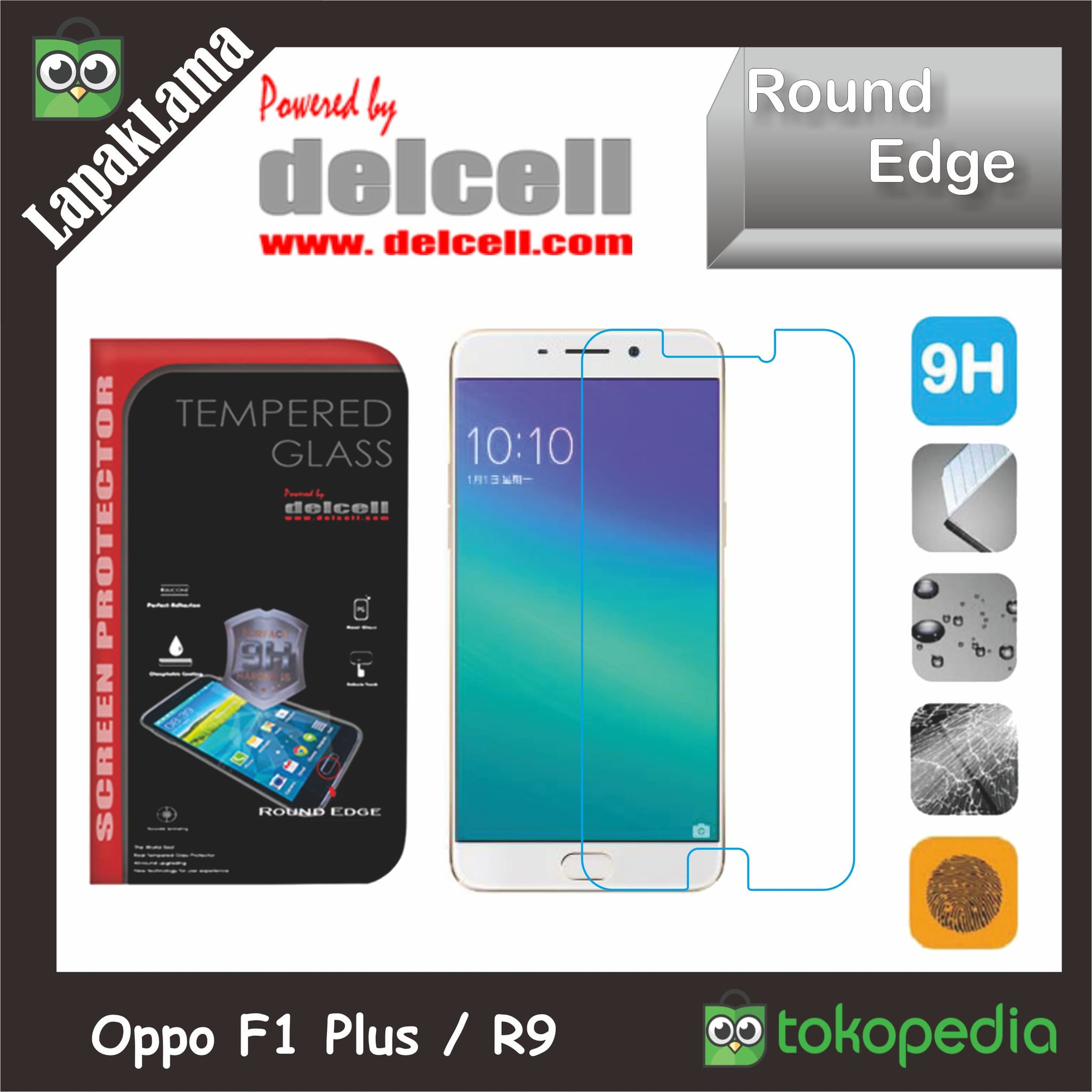 Tempered Glass Delcell Oppo F1 Plus  R9  F1+ Screen Guard Protector
