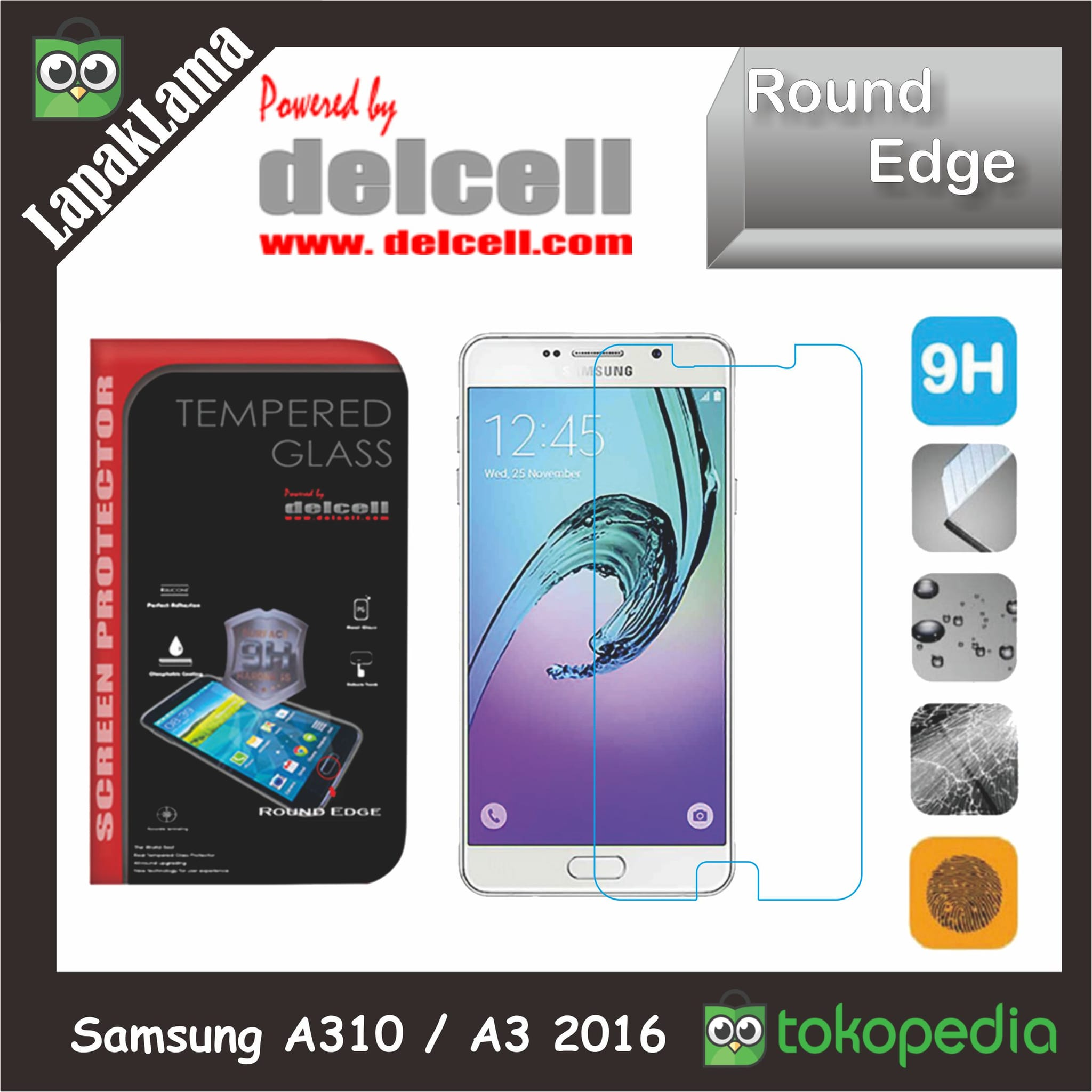 Tempered Glass Delcell Samsung Galaxy A310  A3 2016 Screen Guard Kaca