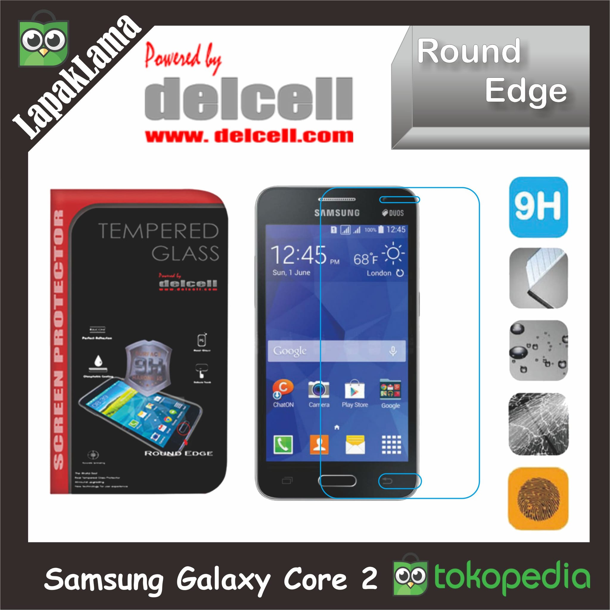 Tempered Glass Delcell Samsung Galaxy Core II  Core 2  Core Dual Sim