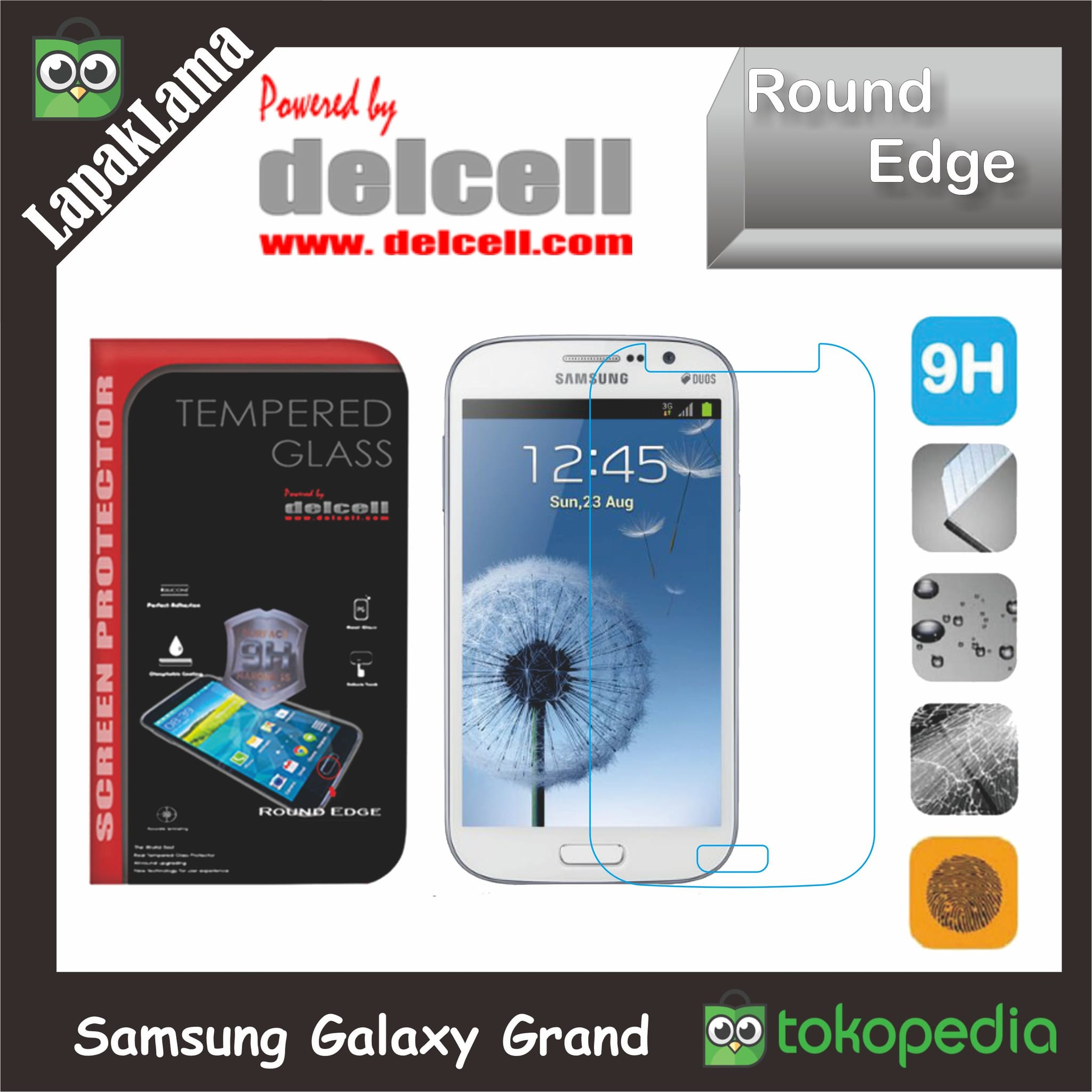 Tempered Glass Delcell Samsung Galaxy Grand i9080 i9082 Screen Guard