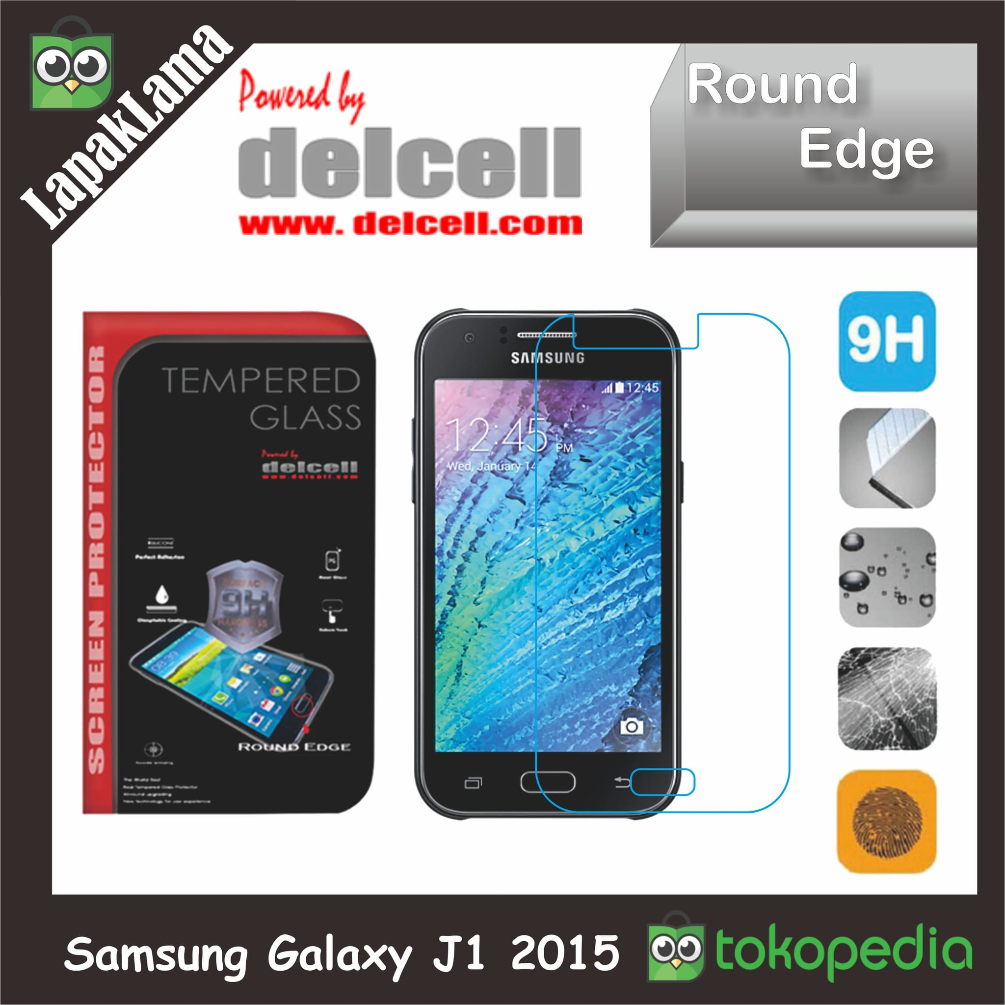 Tempered Glass Delcell Samsung Galaxy J1 2015  J100F Screen Guard