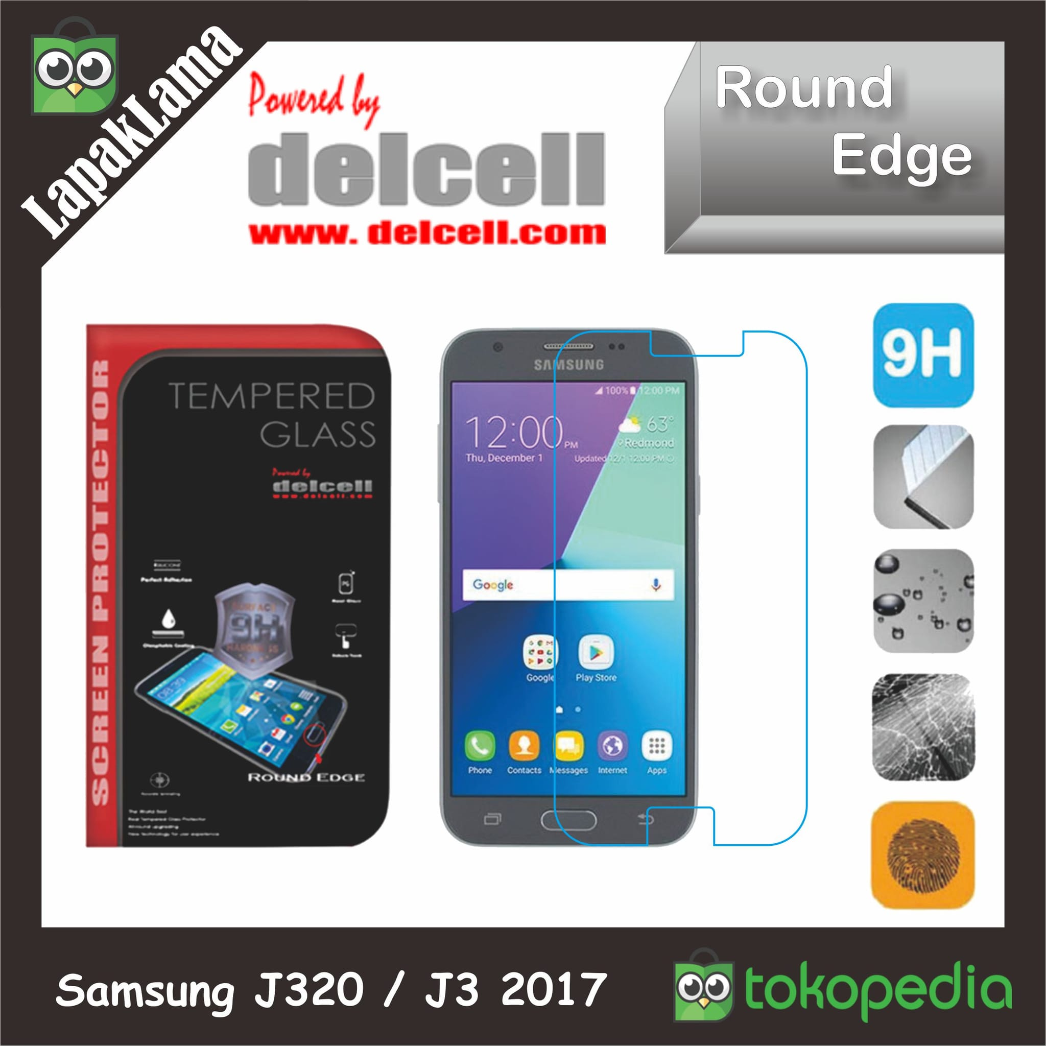 Tempered Glass Delcell Samsung Galaxy J320  J3 2017 Screen Guard Kaca