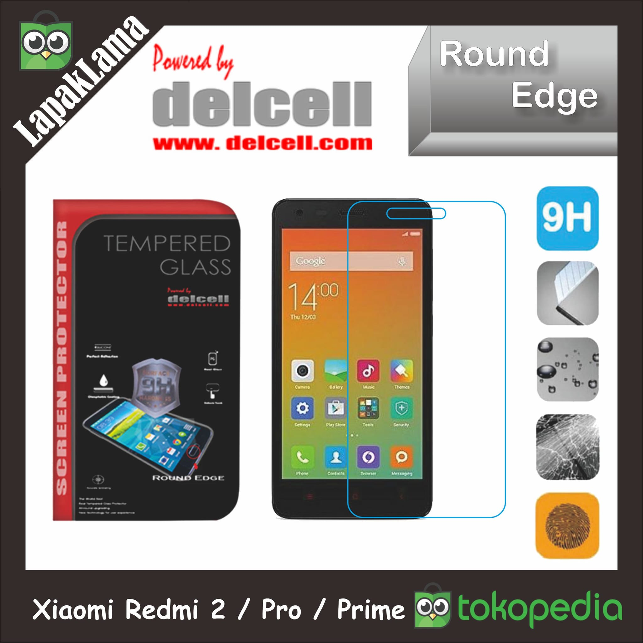Tempered Glass Delcell Xiaomi Redmi 2 2s  Pro  Prime Screen Guard