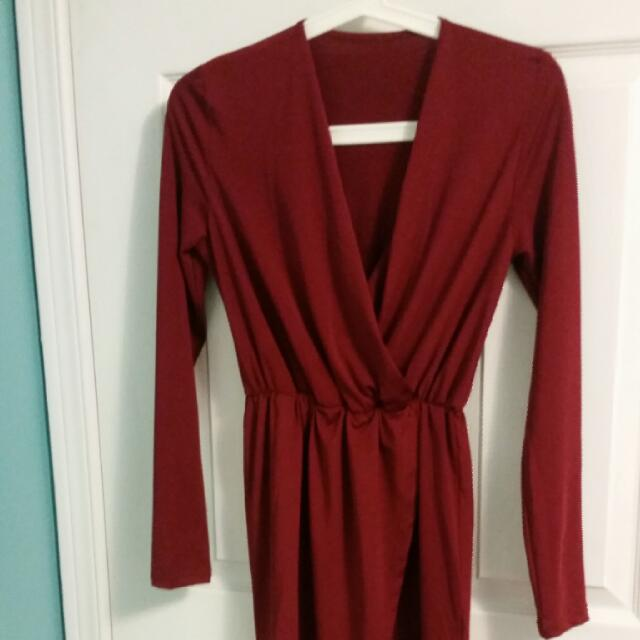 Tobi Red Wrap Dress, XS