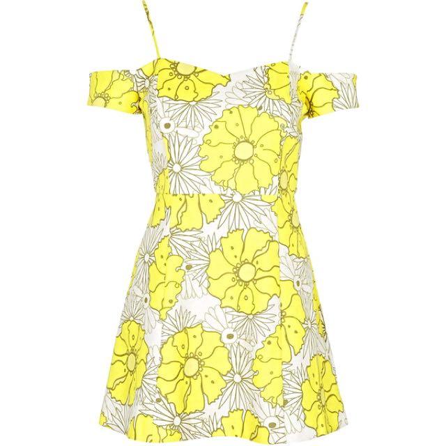 Topshop Petite Yellow Floral Shoulder Dress