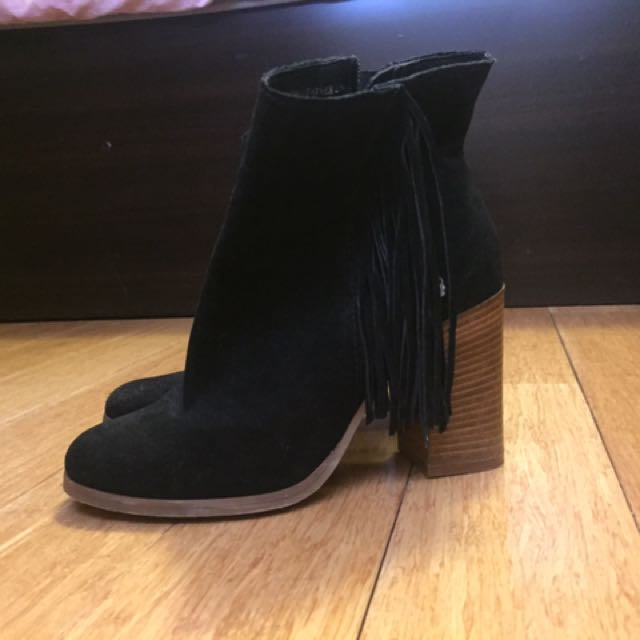Urban Soul Suede Leather Boots With Cute Fringes