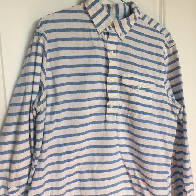 White and blue stripe button-down long-sleeved shirt