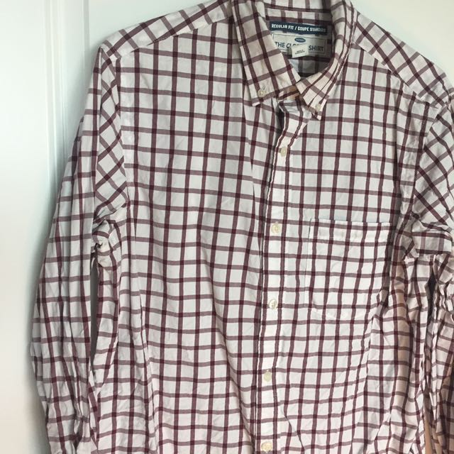 White and maron checkered dress shirt