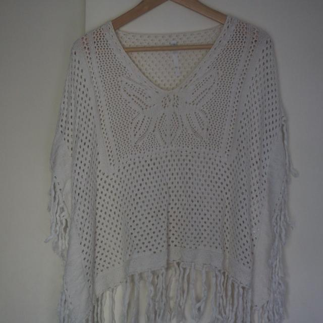 White Knit Poncho Throw Over Top