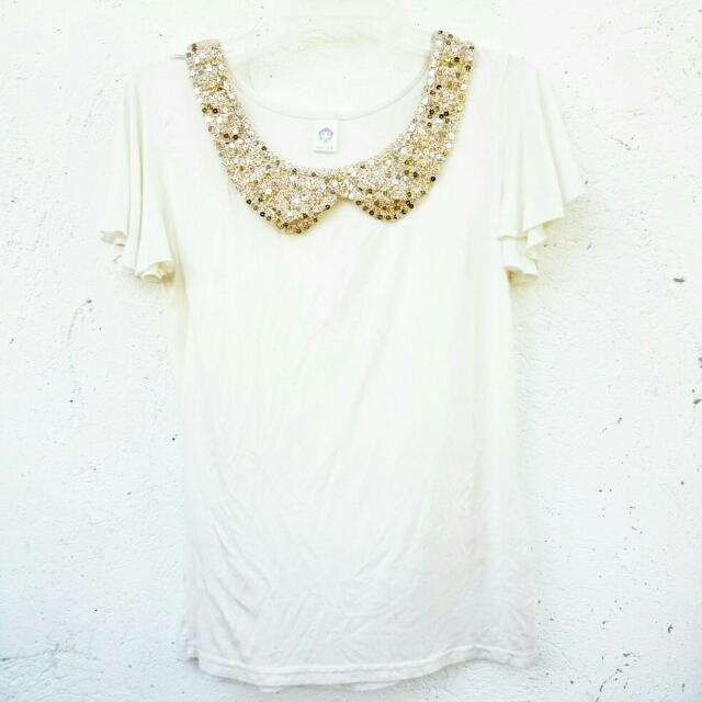 White Sequined Collar Top