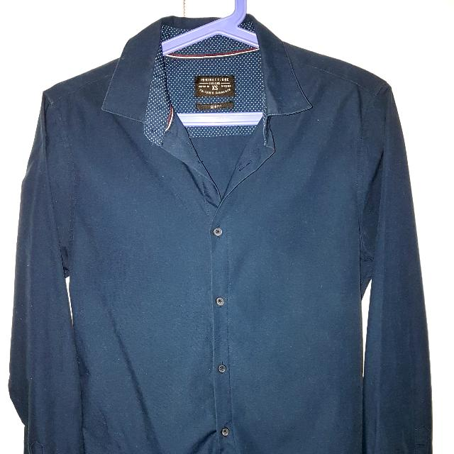 (XS) Cotton On - Navy Blue Long Sleeved Button Down