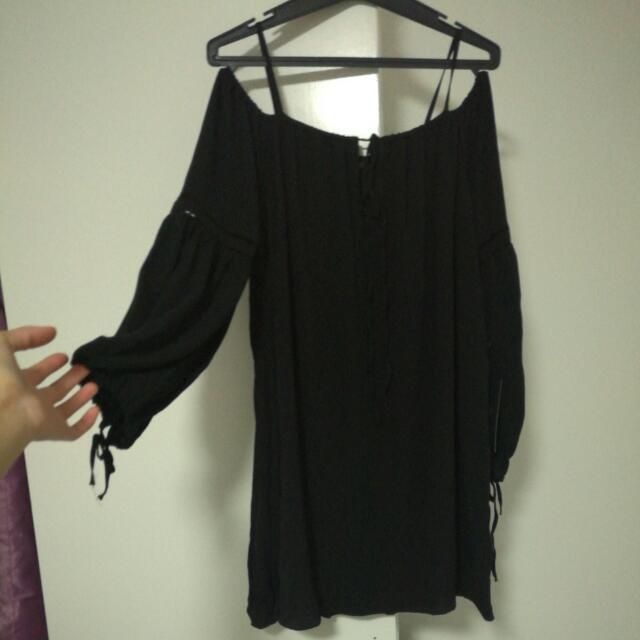 Zara Black Off The Shoulder Dress