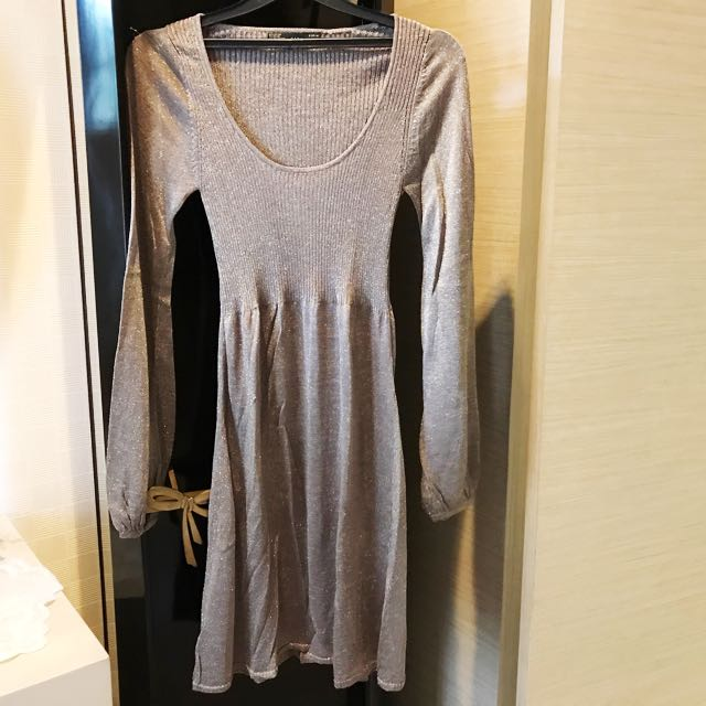 Zara Gold Long Sleeves Dress