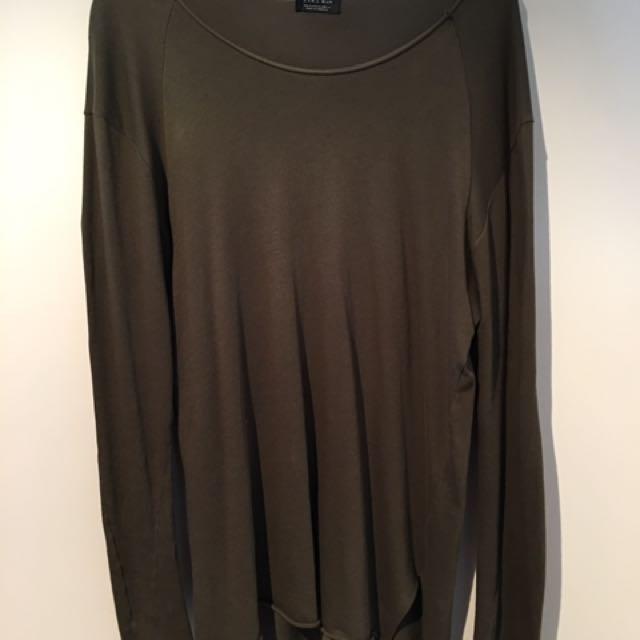 Zara Khaki Long Sleeve Top