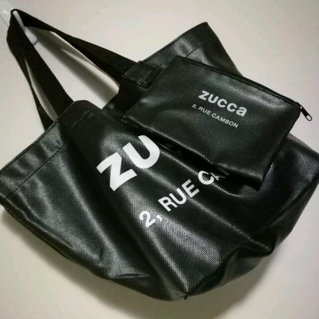ZUCCa 2 RUE CAMBON Small Black Tote With Matching Pouch