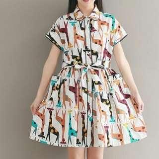 KT48763 #新款文藝復古動物印花連衣裙 尺碼:2XL XL L M (尺寸表圖片內)