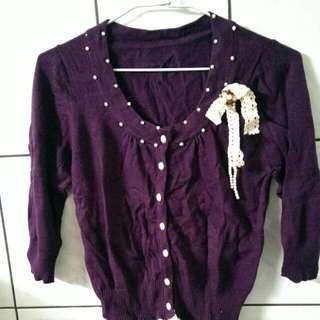 【全新】輕淑女 圓領珠珠蕾絲蝴蝶結造型針織七分袖合身薄外套-S 深紫 #三百元外套